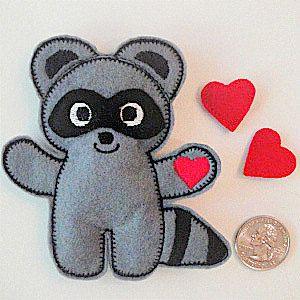 The Kissing Hand inspired Raccoon Softie - Pocket Size - Stuffed Animal, Plushie, Doll - Felt Toys - Story Book Companion