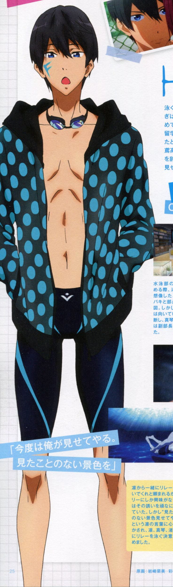 Free! ~~ Haruka ::  If they line up properly, they spell the name of the show!