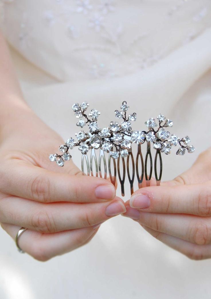 Crystal headpiece, wedding hair jewelry, bride hair comb, Rhinestone hair accessory, bridal hair piece, jewel for hair, hair brooch, EMMA. €52.00, via Etsy.