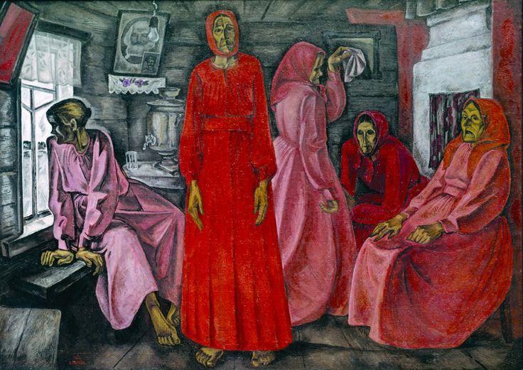 Viktor Popkov, Memories, Widows, 1966, Oil on Canvas, State Tretyakov Gallery in Moscow (Воспоминание. Вдовы, 1968 )