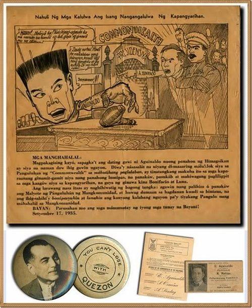 1935 Commonwealth Presidential Campaign Poster featuring Emilio Aguinaldo and Manuel Quezon