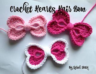#crochet, free pattern, Ravelry, hearts, bow, hairclip, #haken, gratis patroon (Engels), hartjes, strik, haarclip, haakpatroon