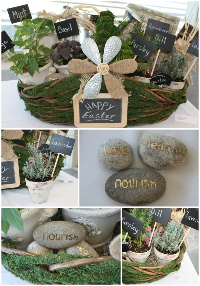 DIY Herb Basket. Painted pots, chalkboard picks and gold leafed rocks {The Creativity Exchange}