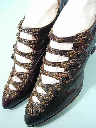 c. 1905  Black Kid Multi-Strap Boots with Beads by E. Hayes in New York. 9 images of them can be seen at http://www.antiquedress.com/item6042.htm#