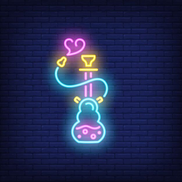 Download Neon Icon Of Hookah With Heart Shaped Smoke For Free