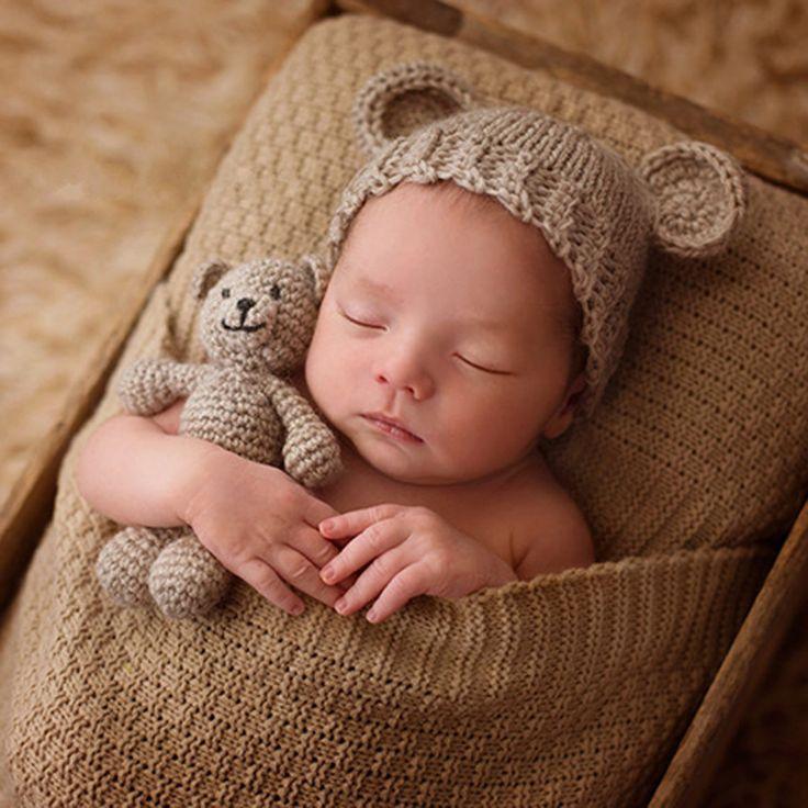 2 PCS Main Crochet Tricoté Bébé Chapeau et Ours en peluche Poupée Photographie/Photo Prop, nouveau-né Chapeaux 0-3 Mois Bébé Douche Cadeaux L1743(China (Mainland))