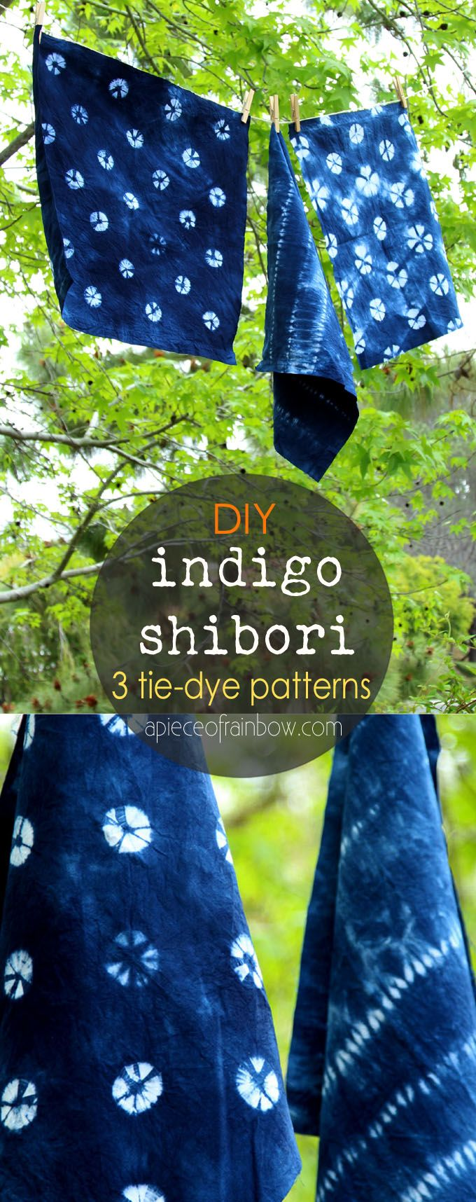 In Love With Indigo: 3 DIY Detailed tutorial on 3 beautiful tie dye techniques to create your own glorious Indigo Shibori textiles. Great for home decor or fashion projects. - A Piece Of Rainbow