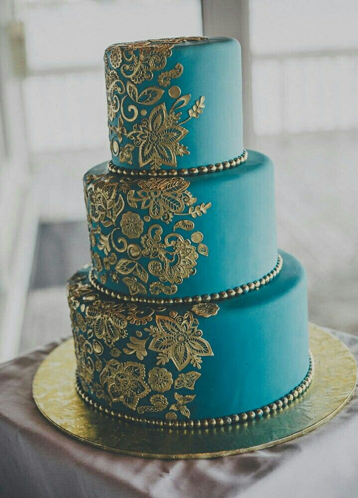 Teal & Gold Indian Wedding Cake