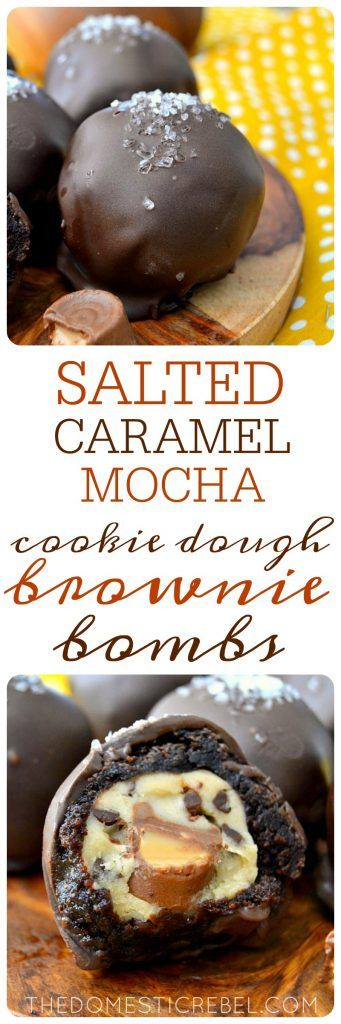These Salted Caramel Mocha Cookie Dough Brownie Bombs are AWESOME. Espresso fudgy brownies are wrapped around egg-free chocolate chip cookie dough that's filled with a caramel candy and everything is coated in chocolate and sea salt. Sweet, salty, decadent, delicious!
