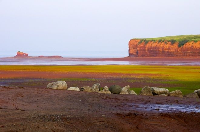 Sunset over the cliffs, Blomidon Beach, Nova Scotia