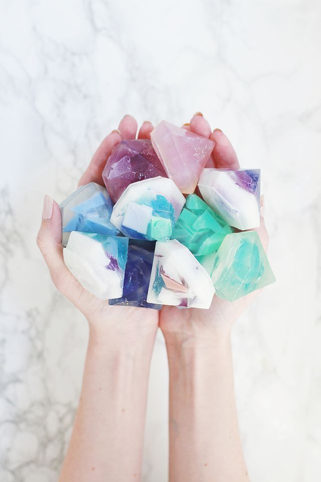 Gemstone Soap DIY (Two Ways!) | A Beautiful Mess | Bloglovin'