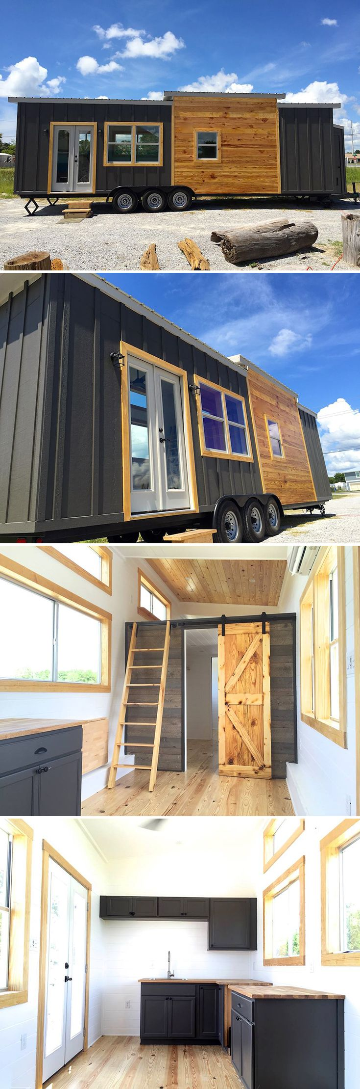 Totaling just under 350-square-feet, the 32' Irving by Tiny Life Construction sleeps up to six people with a main floor bedroom, loft, and fold out couch.