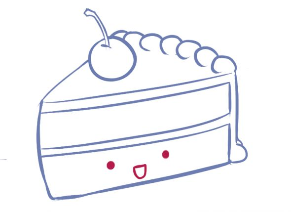 How To Draw a Slice of Cake! *cute*