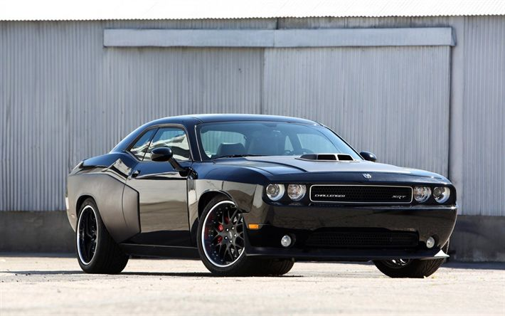 Download wallpapers Dodge Challenger, tuning, SRT8 392, black sports coupe, American cars, Muscle car, Dodge