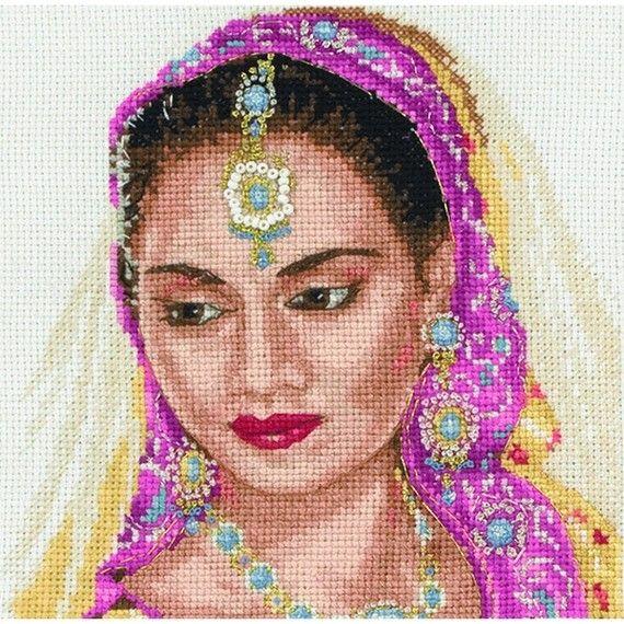 point de croix visage femme indienne, india cross stitch