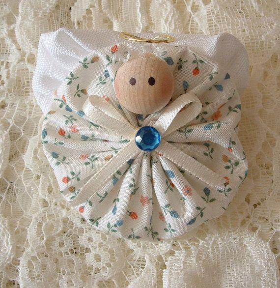 Homemade Angel Christmas Ornaments | Christmas Angel Pins Handmade Fabric Yoyo by HillbillyLaceEtc
