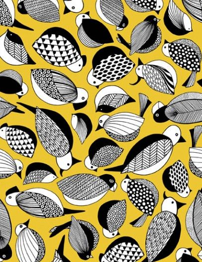 Paradis, fabric designed by Ulrika Gyllstad for Bantie    I like the yellow black and white together, as well as the different interpretation of birds than what we see a lot in Put A Bird On It