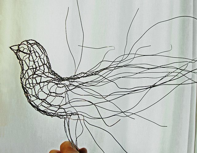 Wire Sculpture Bird Half Finished by Ruth Jensen, via Flickr