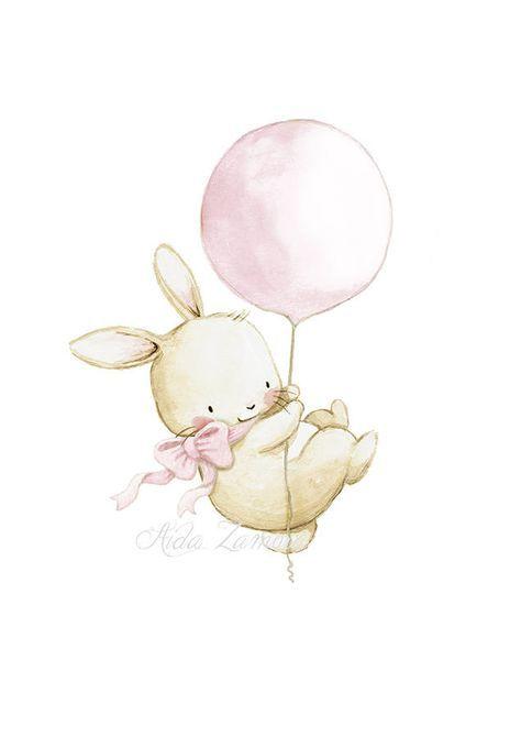 Nursery Art Quot Bunny With Pink Balloon Quot Nursery Print