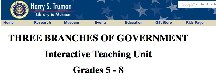 Three Branches of Government. Interactive site of the three branches of government along with games and puzzles.