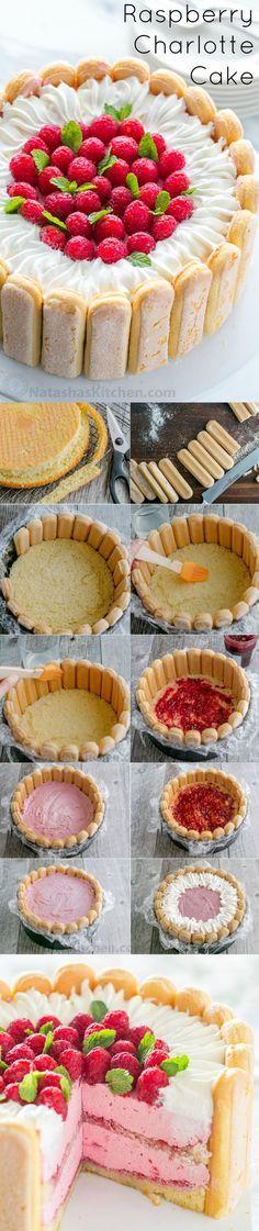 Con el paso a paso las fotos, puede dominar frambuesa Charlotte Russe de la torta! Un postre Charlotte con capas de mousse de frambuesa, dedos de la señora y la torta esponjosa.