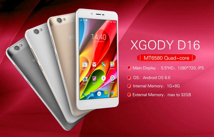 "XGODY D16 Smartphone 5.5"" 1GB RAM 8GB ROM Quad Core Android 6.0 4000mAh 8.0MP Dual SIM Telefone Celular 3G Touch Android Phones"