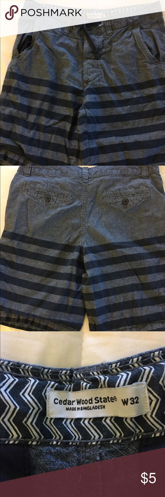 Primark shorts Striped navy flat front shorts with drawstring primark Shorts Flat Front