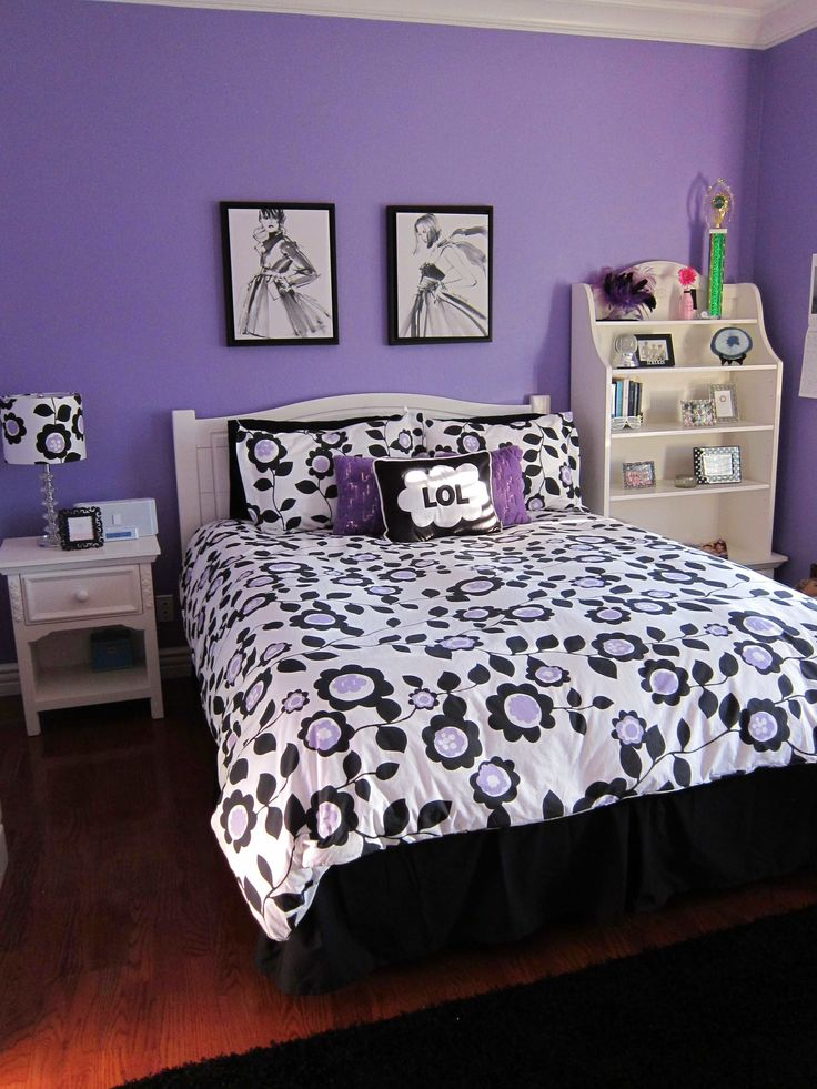 Bedroom Ideas For Teenage Girls Black And White the 25+ best purple teen bedrooms ideas on pinterest | paint