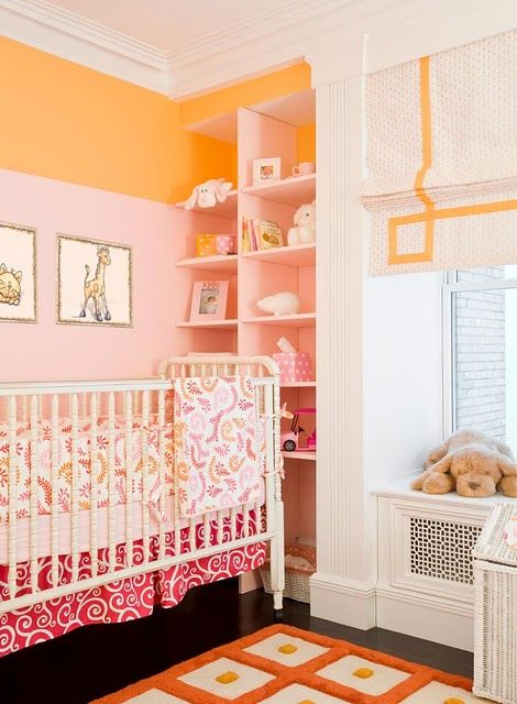 : Colors Combos, Romans Shades, Built In, Window Treatments, Baby Girls, Orange Nurseries, Baby Rooms, Girls Nurseries, Girls Rooms