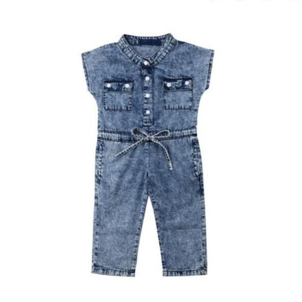 Children Kids Baby Girls Casual Overalls Denim Pants Romper Jumpsuit Set Clothes