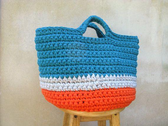 Amazing Crochet basket Large Handmade tshirtyarn Organiser by ChompaHandmade