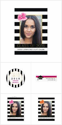 Trendy black and white #stripes and poppy #Classof2016 #graduation collection