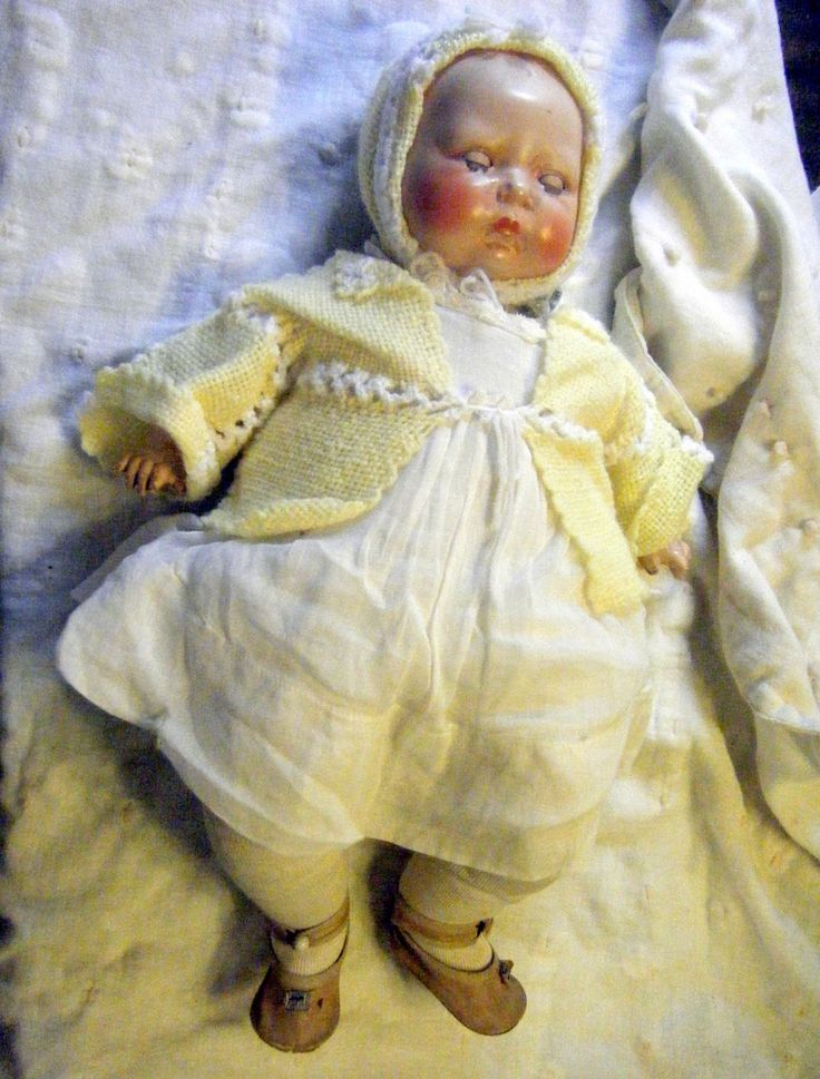 "Vintage Horsman Tynie Baby Doll 18"" Compo Head Horsman Tagged Gown"