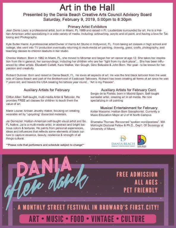 Dania Beach Calendar - Dania Beach After…- daniabeachfl gov