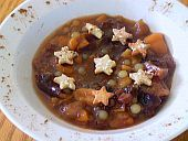 Søtsuppe – Scandinavian Sweet Soup: Cookie floaters lend an extra sparkle to Scandinavian fruit soups and compotes.