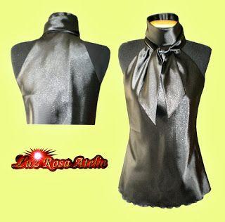 Luz Rosa Atelie - Moda sob Medida: Blusa de Cetim Cava Americana com Gola de Laço