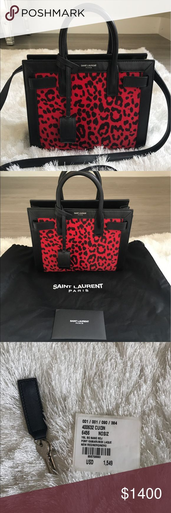 YSL Nano Sac De Jour! ❤️ Gorgeous authentic Saint Laurent nano bag in bright red and black print! Only used a handful of times. Comes with dust bag, authenticity card, and keys for the lock. No trades. Yves Saint Laurent Bags Mini Bags