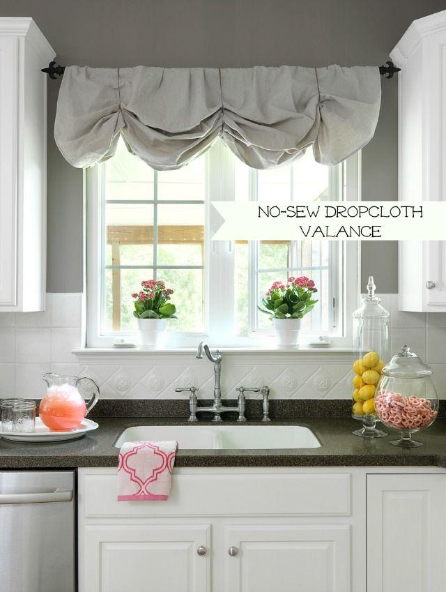 No Sew Drop Cloth Valancehttp://theturquoisehome.com/2013/11/drop-cloth-roundup/