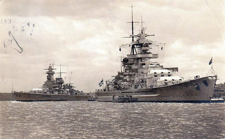 Pocket battleship Admiral Graf Spee (left) with battleship Gneisenau, 1938. Both were 11 in ships: it was originally envisaged that Gneisenau and her sister Scharnhorst would receive 6 x 15 in guns, but the design was not ready in time, so they received 9 x 11 in instead (an excellent design). The pocket battleships had only 6. Note also Gneisenau's significantly thicker armoured belt.