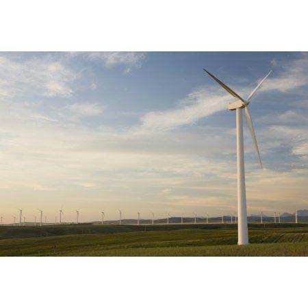 Pincher Creek Alberta Canada Wind Mill Farm Canvas Art - Michael Interisano Design Pics (38 x 24)