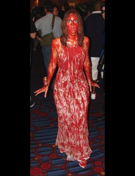 Carrie Halloween Costume ~ Easy to do & so ghoulishly great!  #etsyvintageteam #carrie #movies #haunted #halloween #costume #ideas #blood #gore #female #women