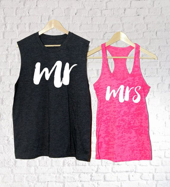 These Mr Mrs Matching Couple Tank top make an unusual gift for a wedding or anniversary. Unique and quirky wedding gift. A great fun and contemporary Wedding gift for your lovely engaged couple.  These T Shirts can be gifted to the lucky couple before the wedding so that they can don them on their Hen and Stag nights making the star of the evening stand out.  They are great to wear on the big day when the bride and groom are being primped and preened prior to putting on the suit and dress…