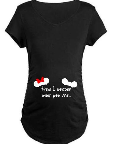 How I Wonder What You Are Mickey and Minnie Maternity Shirt for Pregnancy Announcements or Gender Reveal or Disneyland Disney World Trips by ShesCrafteeLLC on Etsy https://www.etsy.com/listing/276108762/how-i-wonder-what-you-are-mickey-and