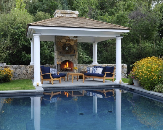 64 best images about indoor outdoor fireplaces pits on pinterest outdoor fireplace plans - Outdoor gazebo plans with fireplace ...