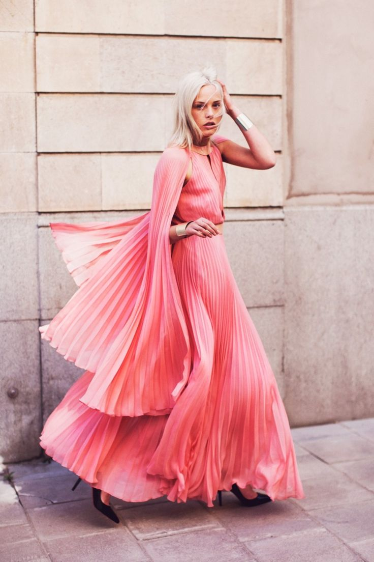 pink! love the pleats and flow: Coral Pink, Pink Dresses, Richard Nicole, Color, Street Style, Pleated Dresses, Pink Fashion, Christian Louboutin, Pink Gowns