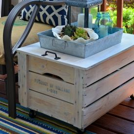 Turn a crate into a stylish side table with a lid that lifts open to store garden supplies, outdoor pillows or the kid's toys!
