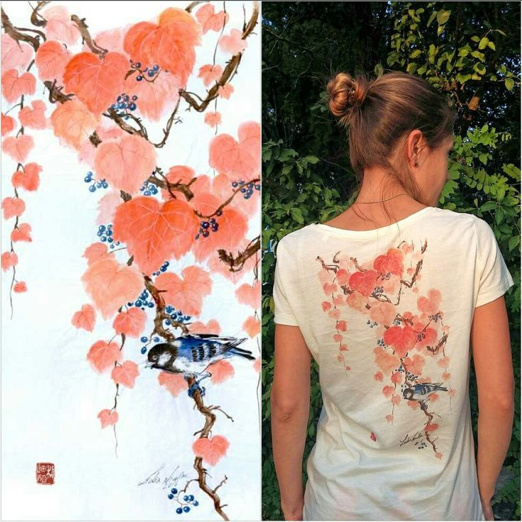 Autumn T-Shirt  #wearmyart #tshirt #organiccotton #unprintbun #painting #chinesebush #autumn #autumnedition #orange #blue More artworks on my website: lidianicolae.ro  Thanks for watching!