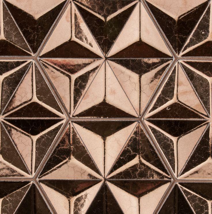 "ANN SACKS Ogassian 8"" japanese geo ceramic field in metallic antique gold"