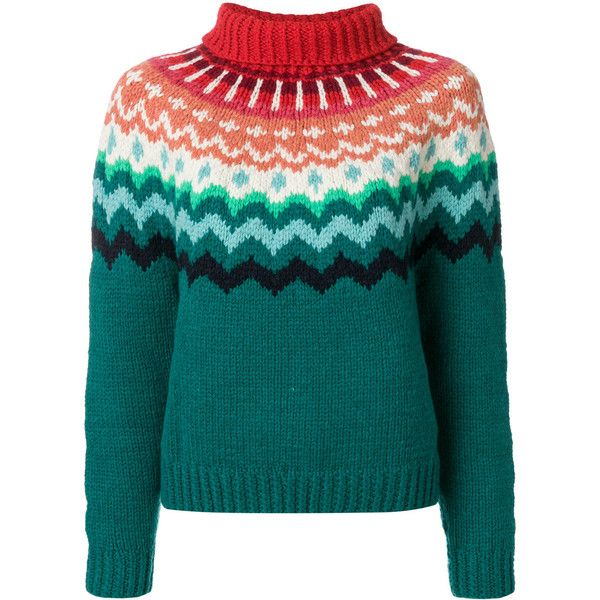 Anya Hindmarch chunky Fair Isle jumper ($955) ❤ liked on Polyvore featuring tops, sweaters, anya hindmarch, green, green top, blue top, fair isle jumper, green jumper and fair isle sweater