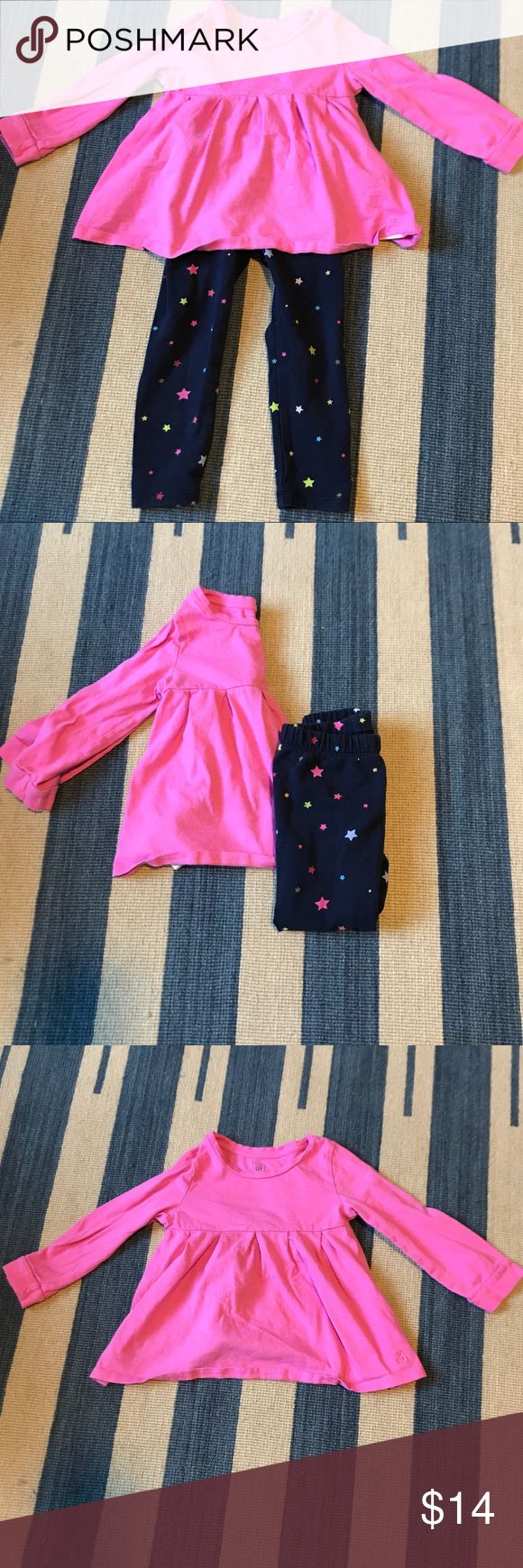 2 Piece GAP Girl's 3T Leggings and Tunic A bargain girl's 3T outfit from the Gap. One long sleeve jersey tunic in bright pink with a pair of soft Terry leggings in a galaxy print. The top is cute and looks great with other pants (black leggings, jeans, etc.). The leggings are substantial and soft. Made from French terry for all seasons.  In great used condition. Some fading from laundering. From a pet and smoke free home. GAP Matching Sets